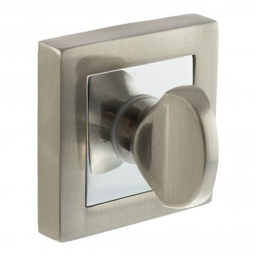 Status WC Turn And Release On S4 Square Rose In Satin Nickel/Polished Chrome