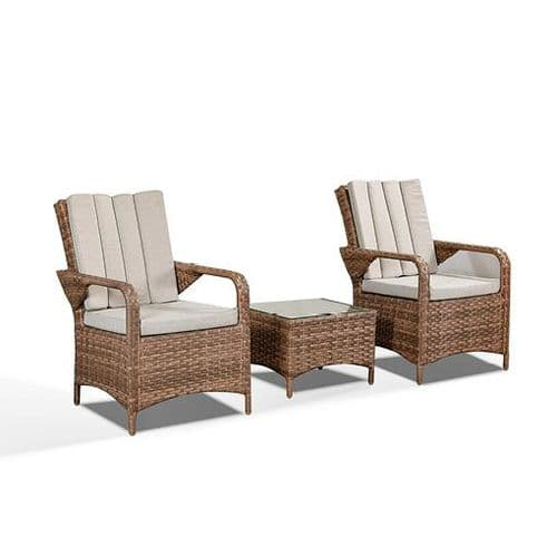 Zoe Luxury Brown Rattan Bistro Set With 2 Chairs & Table