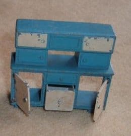 """- Original - Dinky Toys Dolly Varden Kitchen Furniture 103B """" Kitchen Cabinet with opening door and drawer"""" in Light Blue Finish."""