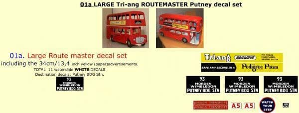 "01A LARGE Tri-ang Triang ROUTEMASTER Bus "" PUTNEY BDG STN "" Paper and White decal set"