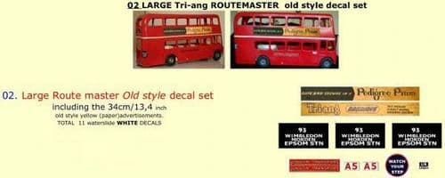 """02 LARGE Tri-ang Triang ROUTEMASTER  Bus """" OLD STYLE """" Paper and White decal set"""