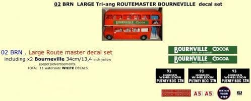 """02BRN LARGE Tri-ang Triang ROUTEMASTER Bus """" BOURNVILLE COCOA """" Paper and White decal set"""