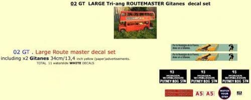 """02GT LARGE Tri-ang Triang ROUTEMASTER Bus """" GITANES """" Paper and White decal set"""