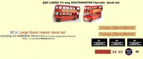 """02H LARGE Tri-ang Triang ROUTEMASTER Bus """" HARRODS """" Paper and White decal set"""