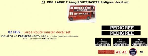 """02PDG LARGE Tri-ang Triang ROUTEMASTER Bus """" PEDIGREE """" Paper and White decal set"""