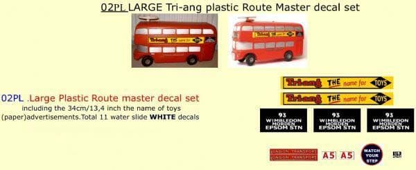 02PL LARGE Tri-ang Triang plastic ROUTEMASTER Bus Paper and White decal set