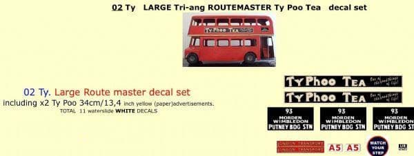 """02TY LARGE Tri-ang Triang ROUTEMASTER Bus """" TYPHOO TEA """" Paper and White decal set"""
