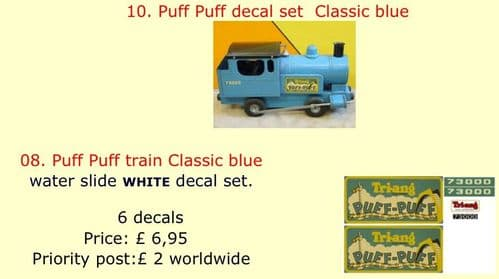 10. Tri-ang Puff Puff decal set  Classic blue