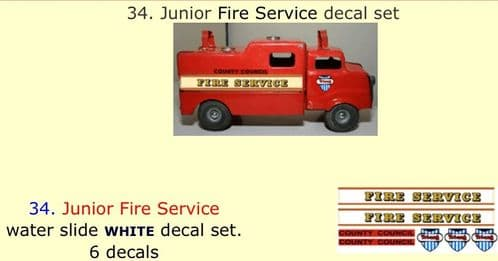 34. Tri-ang Junior Fire Service decal set
