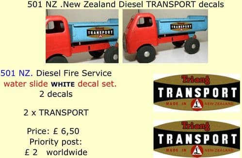 501 Tri-ang NZ .New Zealand Diesel TRANSPORT decals