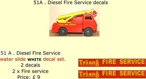 51A . Tri-ang Diesel Fire Service decals