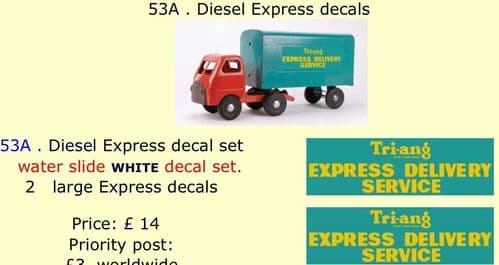 53A . Tri-ang Diesel Express decals