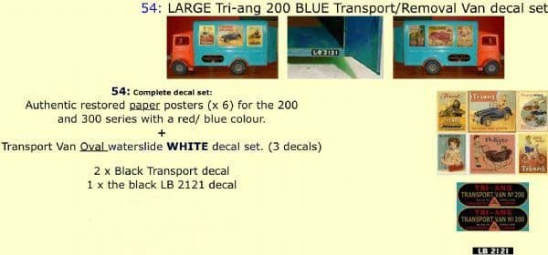 54 LARGE Tri-ang 200 BLUE Transport / Removal Van Paper and White decal set