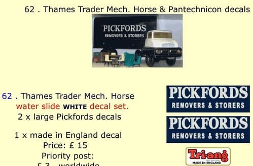 62 . Tri-ang Thames Trader Mech. Horse & Pantechnicon decals