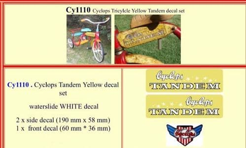 CY1110 Cyclops Tricylcle Yellow Tandem decal set