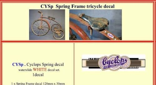 CYSP Cyclops Spring Frame tricycle decal