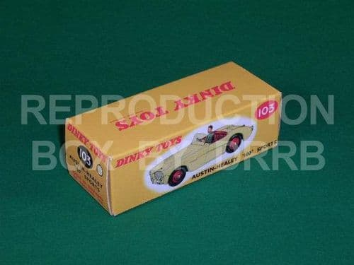 Dinky #103 Austin Healey 100 Sports - Reproduction Box (Cream with Red Seats )