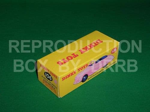 Dinky #106 Austin Atlantic - Reproduction Box ( Pink with Dark Blue seats and Dark Blue wheels )