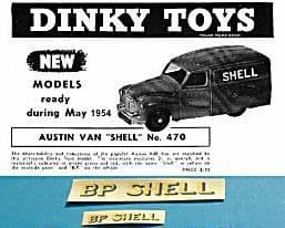 """Dinky Toys 470 Austin """"BP SHELL"""" TRANSFERS / DECALS"""