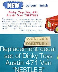"""Dinky Toys 471 Austin """"NESTLES"""" TRANSFERS / DECALS"""