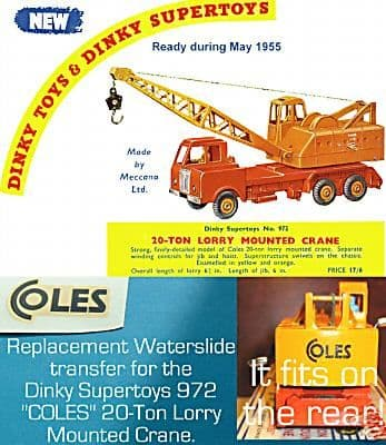 """Dinky Toys 972 20 TON COLES """"COLES"""" TRANSFERS / DECALS"""