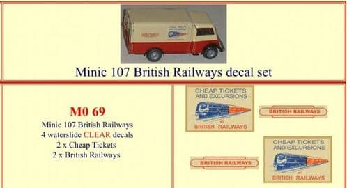 "M069 Tri-ang ( Triang ) Minic M107 "" BRITISH RAILWAYS "" decal set"