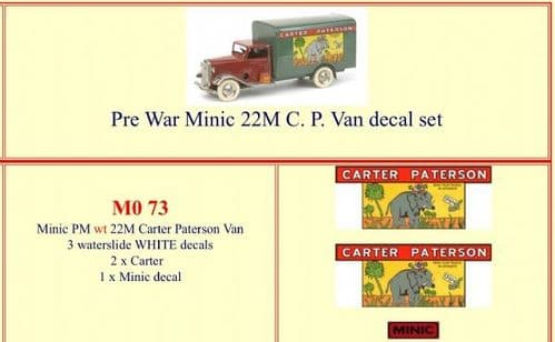 "M073 Tri-ang ( Triang ) Minic 22M Pre-War "" CARTER PATERSON "" Van decal set"