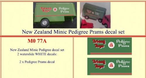 "M077A Tri-ang ( Triang ) Minic New Zealand "" PEDIGREE PRAMS "" decal set"