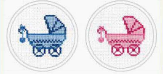Baby Boy's and Girl's Pram Cross Stitch Kit