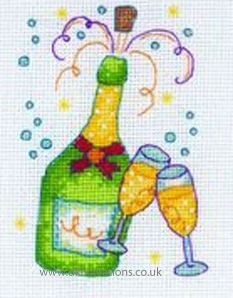 Champagne Cross Stitch Kit
