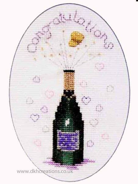Champagne Greetings Card Cross Stitch Kit