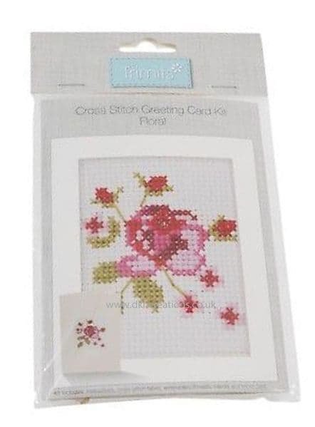 Floral Greetings Card Cross Stitch Kit