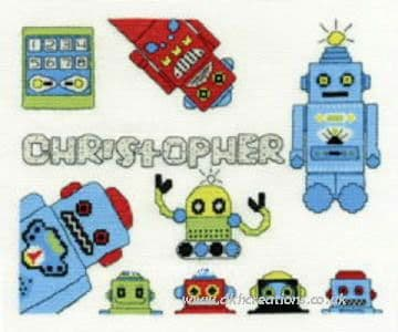 Funky Robot First Name Sampler Cross Stitch Kit