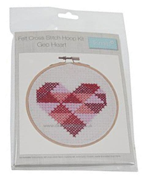 Geo Heart Felt Cross Stitch Hoop  Kit