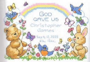 God's Babies Birth Record Cross Stitch Kit