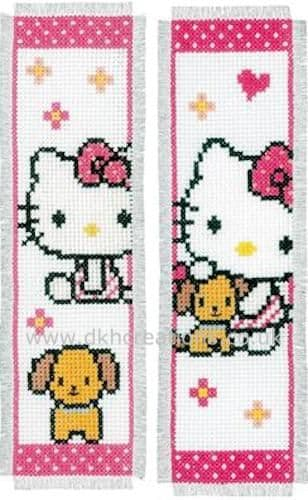 Hello Kitty With Dog  Bookmarks Cross Stitch Kit