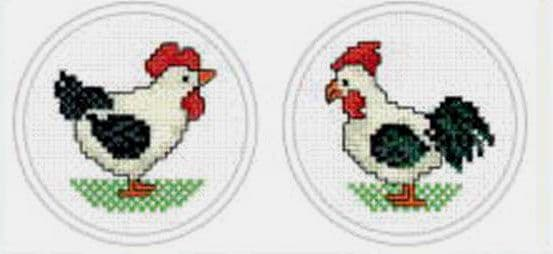 Hen & Rooster Cross Stitch Kit