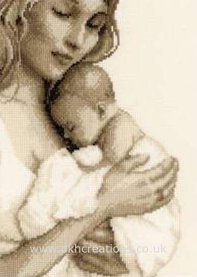 Mother & Child  Sepia Birth Sampler Cross Stitch Kit