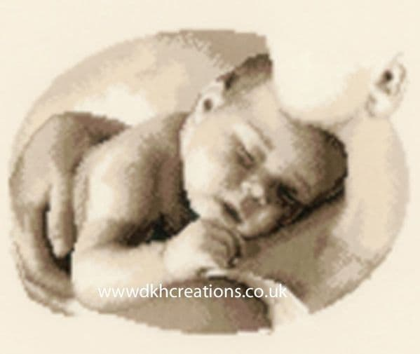 Motherly Love Sepia Birth Sampler Cross Stitch Kit
