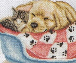 Nap Time Cat And Dog Cross Stitch Kit