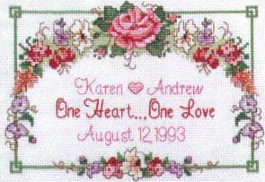 One Heart ... One Love Wedding Record Cross Stitch Kit