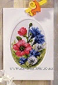Poppies and Cornflowers Greeting Card Cross Stitch Kit