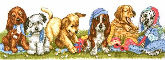 Puppies Dogs In A Row Cross Stitch Kit