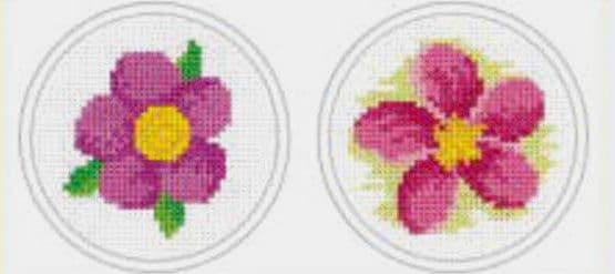 Purple Flower & Pink Flower Cross Stitch Kit