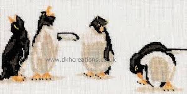 Quartet  Of Penguins Cross Stitch Kit