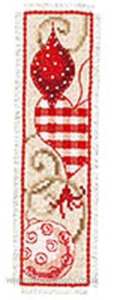 Red Christmas Ornaments Bookmark Cross Stitch Kit