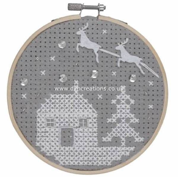Snow Scene  Felt Cross Stitch Hoop  Kit