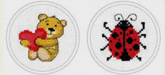 Teddy Bear & Lady Beetle Cross Stitch Kit