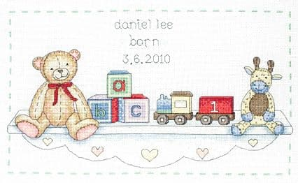 The Toy Shelf Birth Sampler Cross Stitch Kit