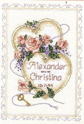 United Hearts Wedding Record Cross Stitch Kit